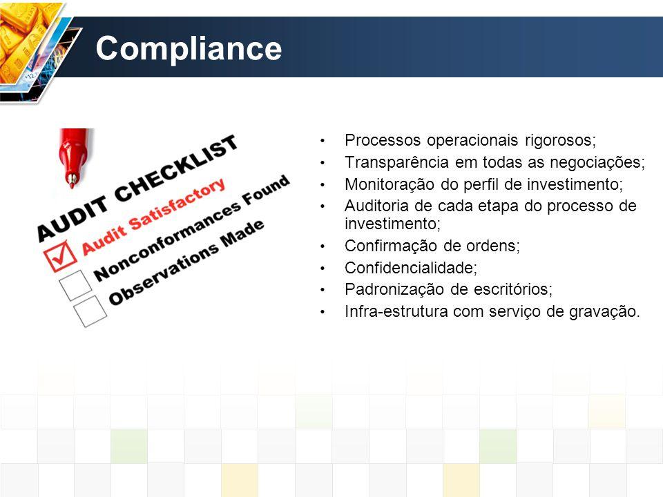 Compliance Processos operacionais rigorosos;