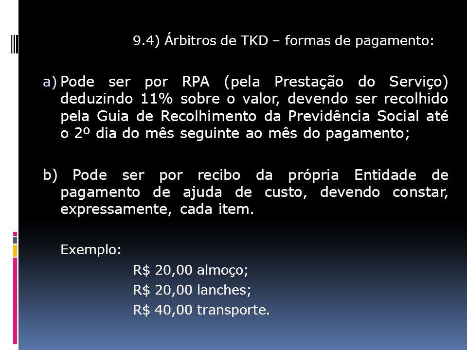 9.4) Árbitros de TKD – formas de pagamento:
