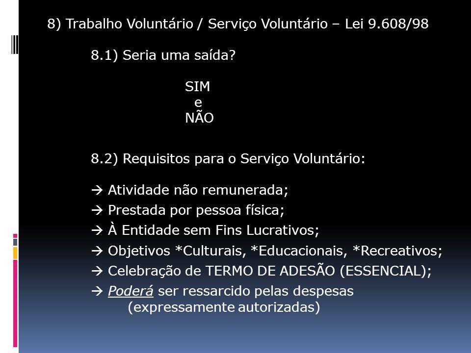 8) Trabalho Voluntário / Serviço Voluntário – Lei 9. 608/98 8