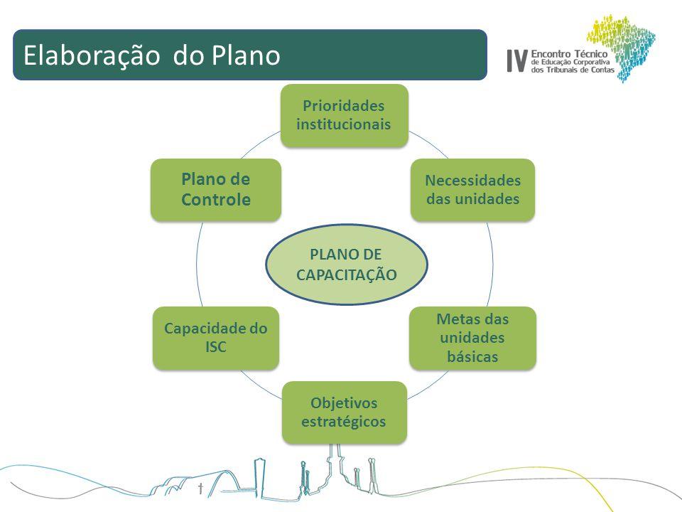 Elaboração do Plano Plano de Controle Prioridades institucionais