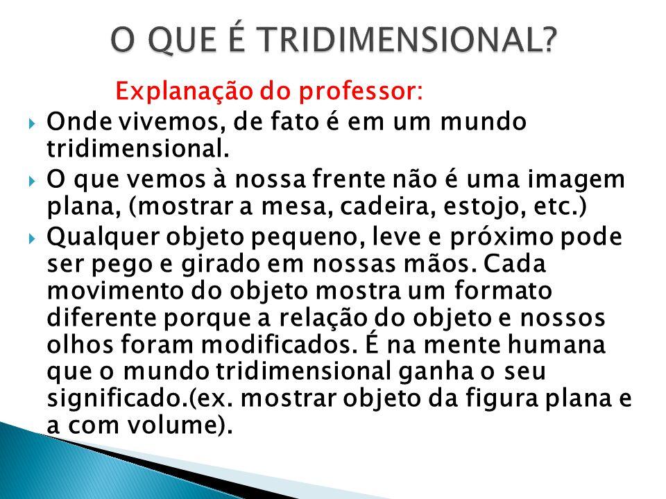 O QUE É TRIDIMENSIONAL Explanação do professor: