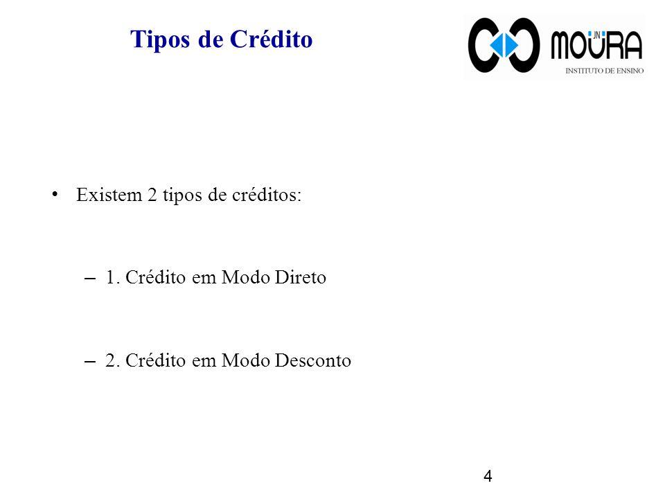 Tipos de Crédito Existem 2 tipos de créditos: