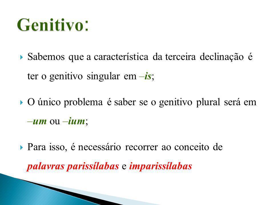 Genitivo: Sabemos que a característica da terceira declinação é ter o genitivo singular em –is;