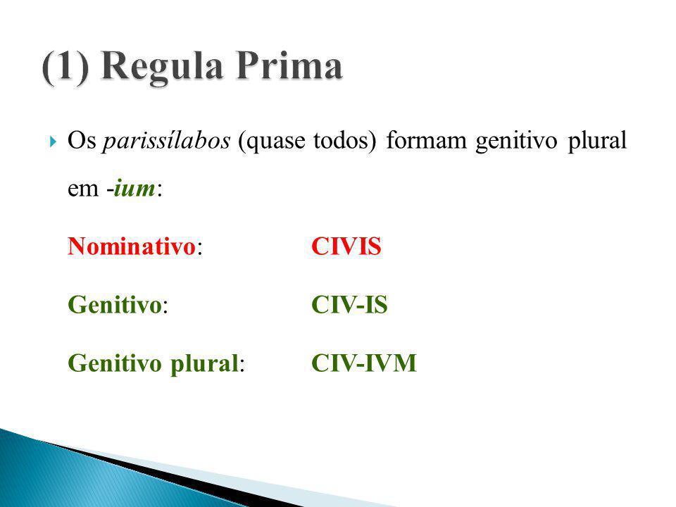 (1) Regula Prima Os parissílabos (quase todos) formam genitivo plural em -ium: Nominativo: CIVIS.
