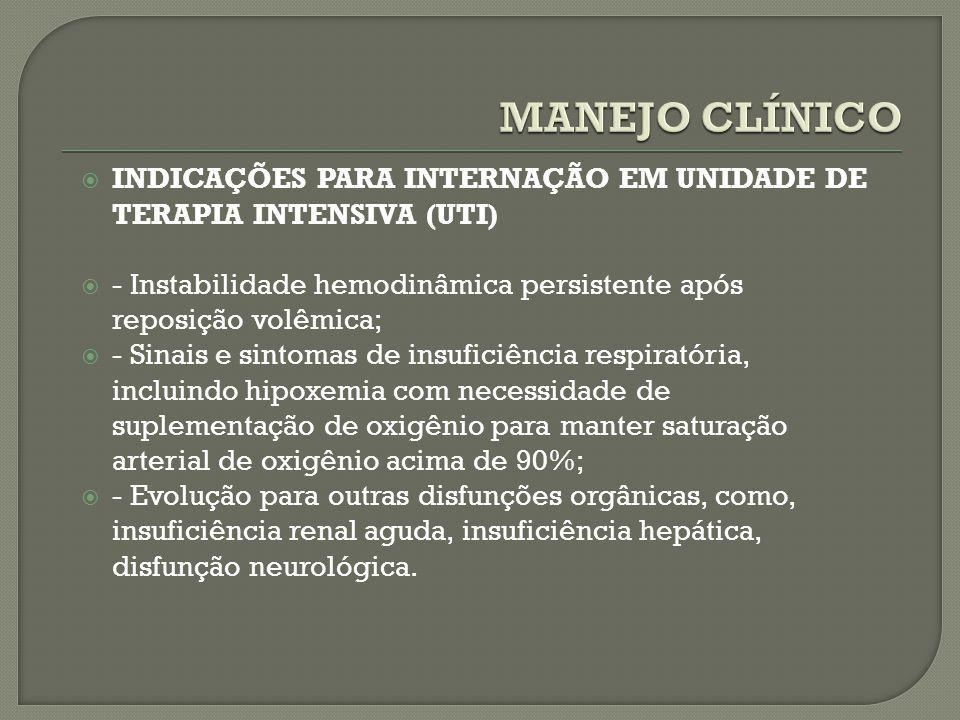 MANEJO CLÍNICO INDICAÇÕES PARA INTERNAÇÃO EM UNIDADE DE TERAPIA INTENSIVA (UTI) - Instabilidade hemodinâmica persistente após reposição volêmica;
