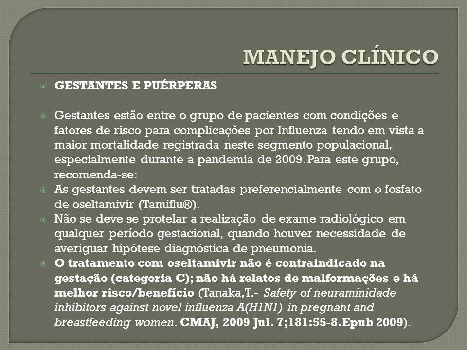 MANEJO CLÍNICO GESTANTES E PUÉRPERAS