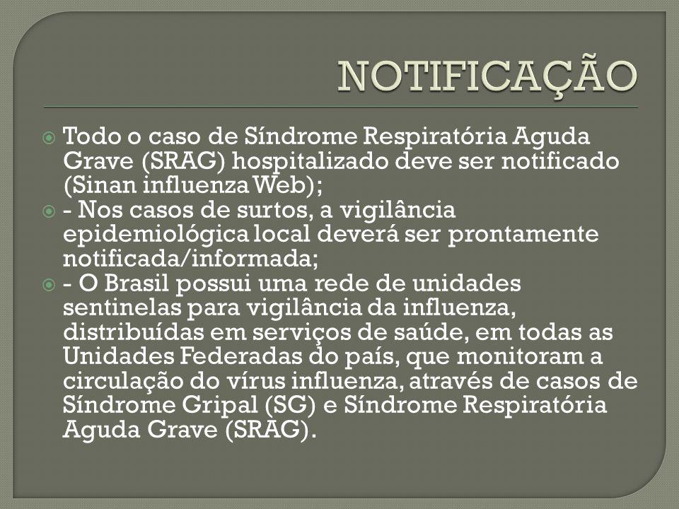 NOTIFICAÇÃO Todo o caso de Síndrome Respiratória Aguda Grave (SRAG) hospitalizado deve ser notificado (Sinan influenza Web);