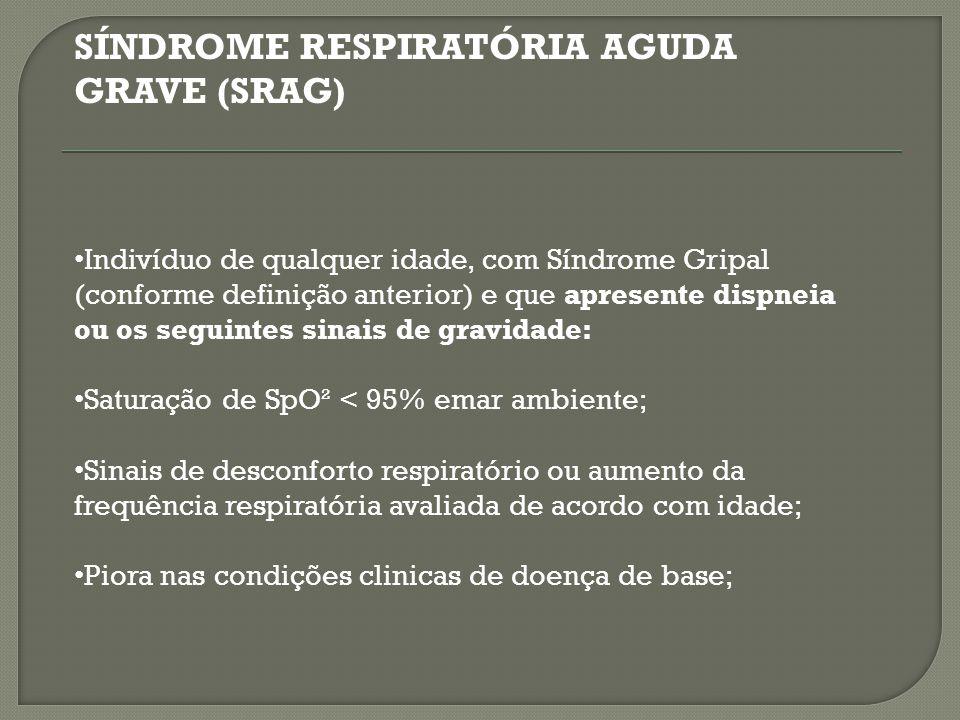 SÍNDROME RESPIRATÓRIA AGUDA GRAVE (SRAG)