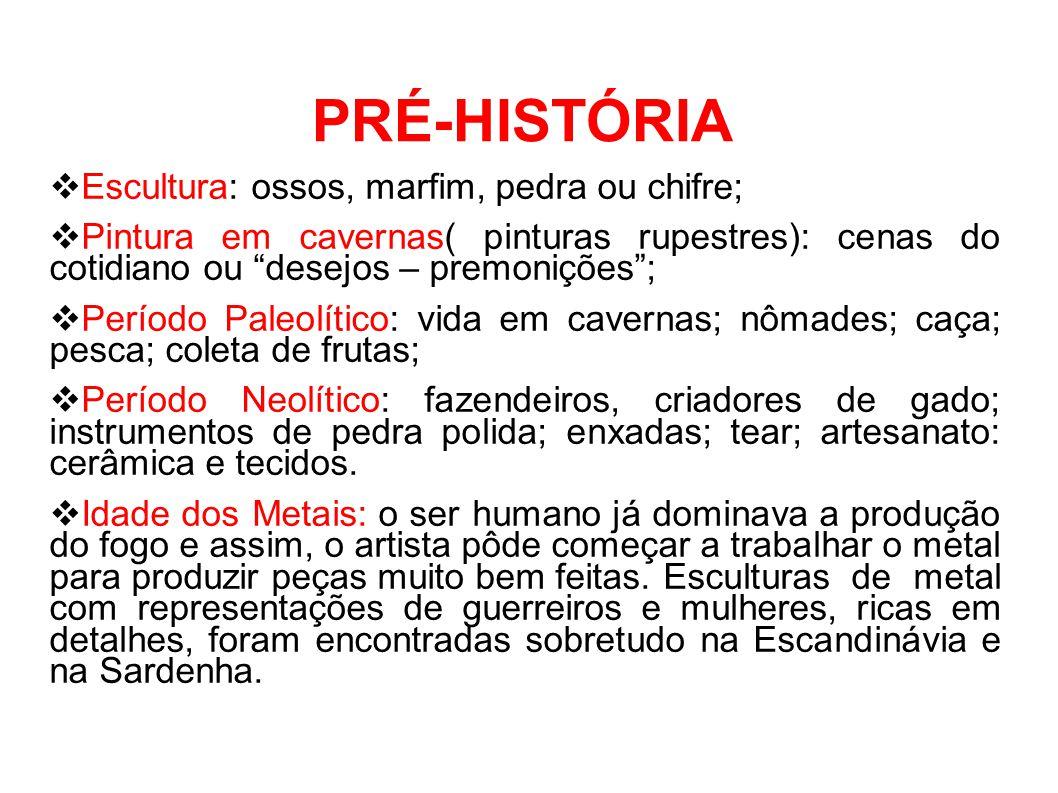 PRÉ-HISTÓRIA Escultura: ossos, marfim, pedra ou chifre;