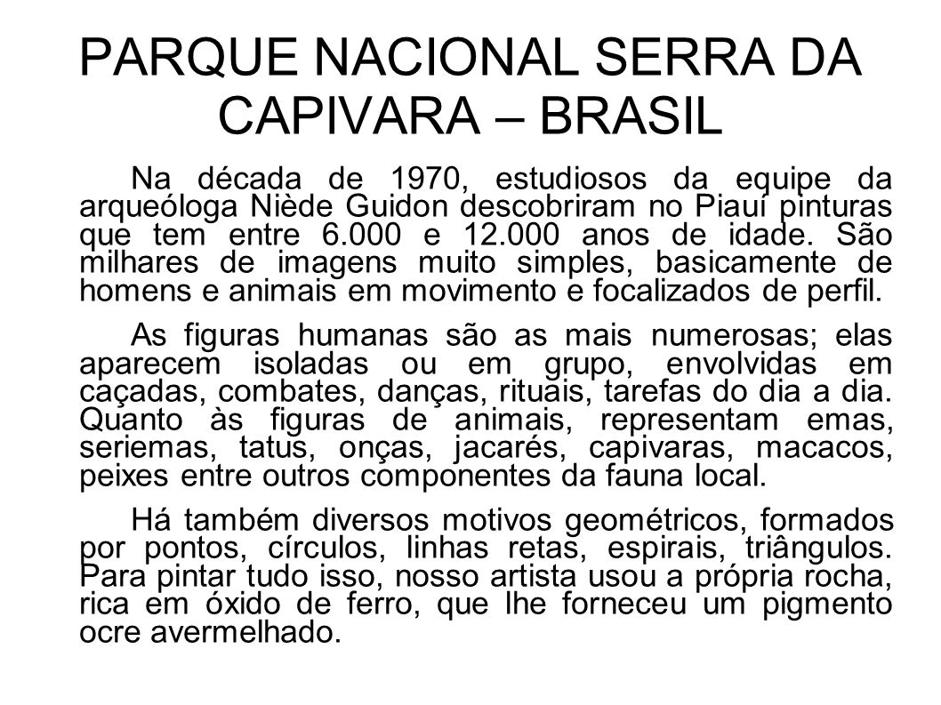 PARQUE NACIONAL SERRA DA CAPIVARA – BRASIL