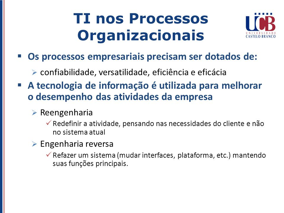 TI nos Processos Organizacionais