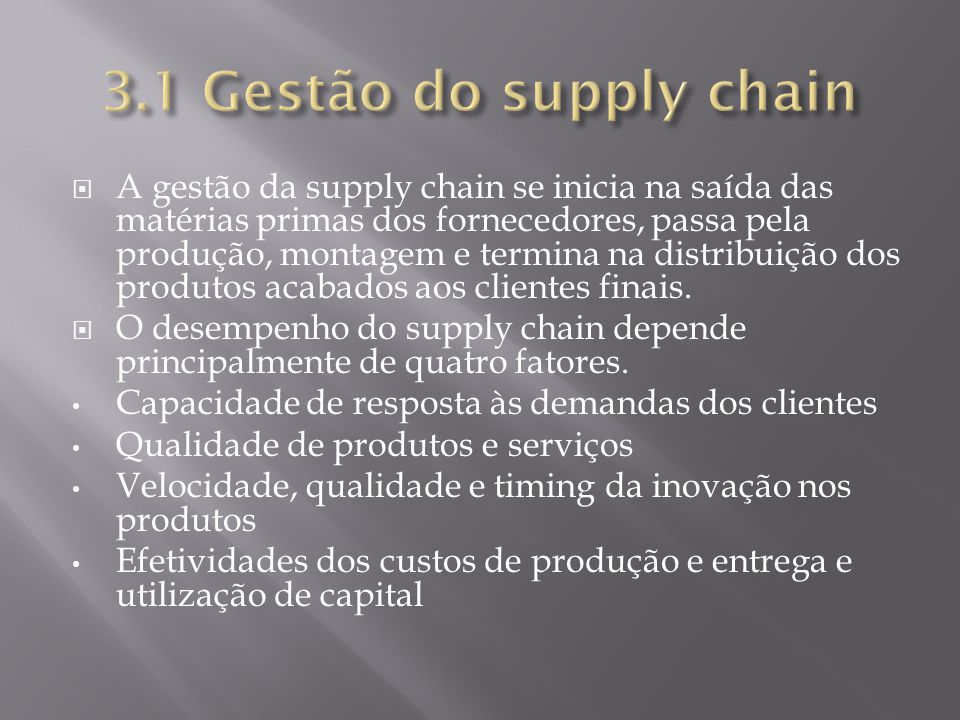 3.1 Gestão do supply chain