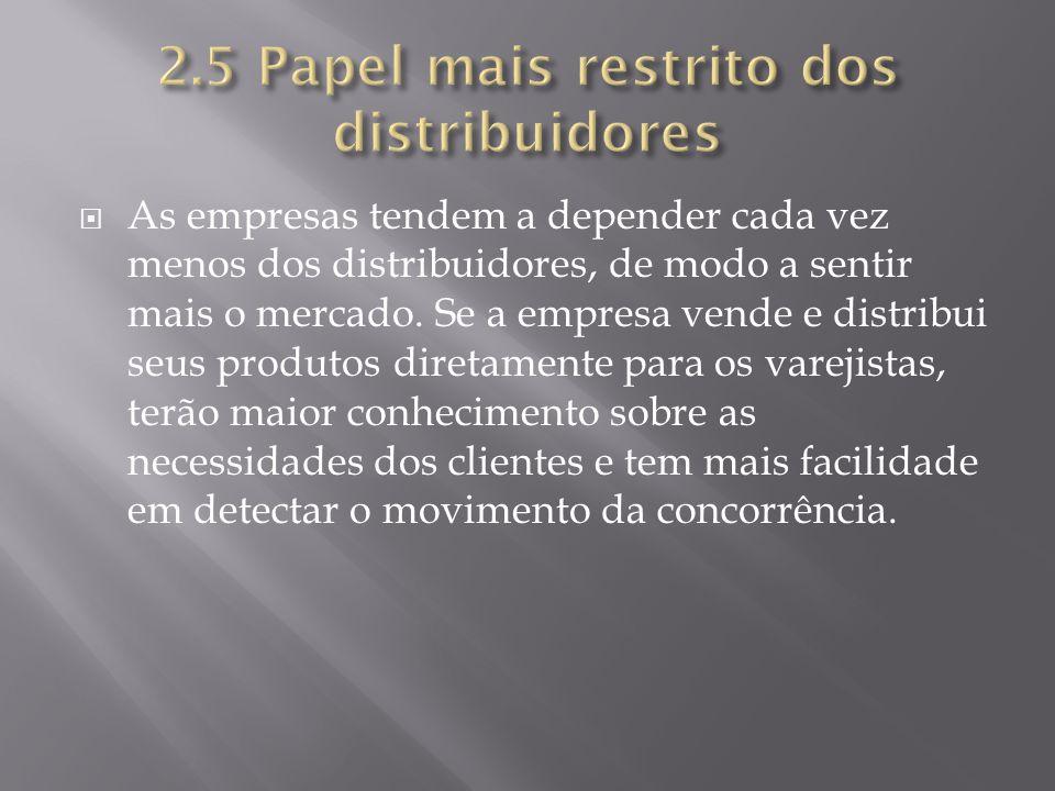 2.5 Papel mais restrito dos distribuidores