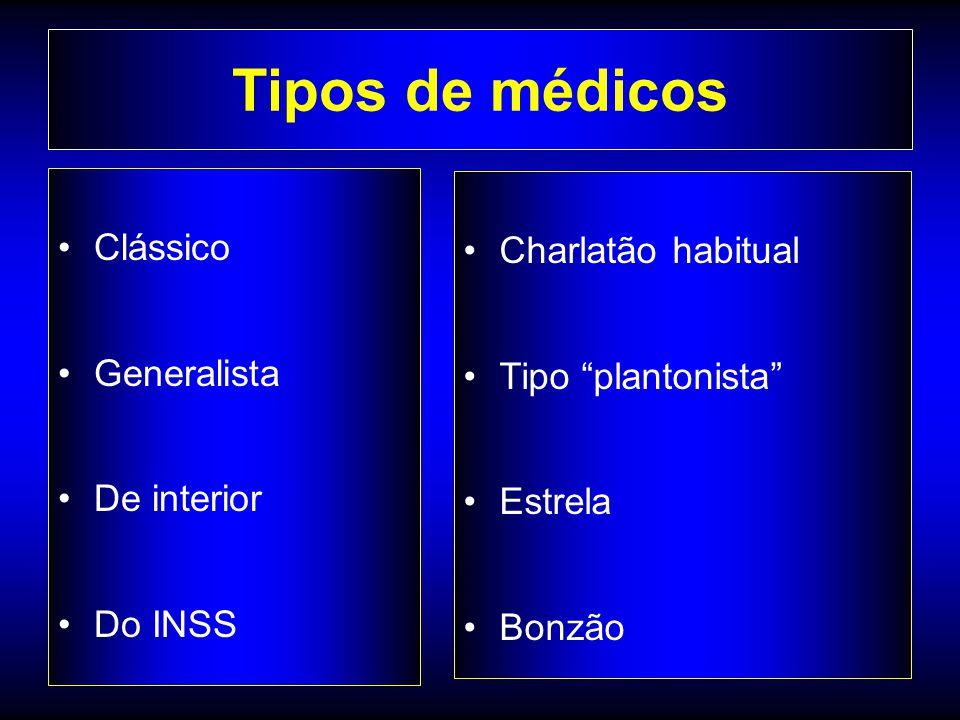 Tipos de médicos Clássico Charlatão habitual Generalista