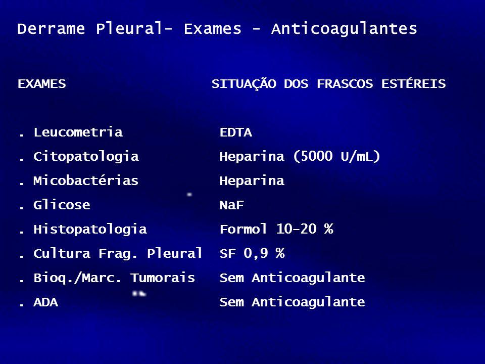 Derrame Pleural- Exames - Anticoagulantes