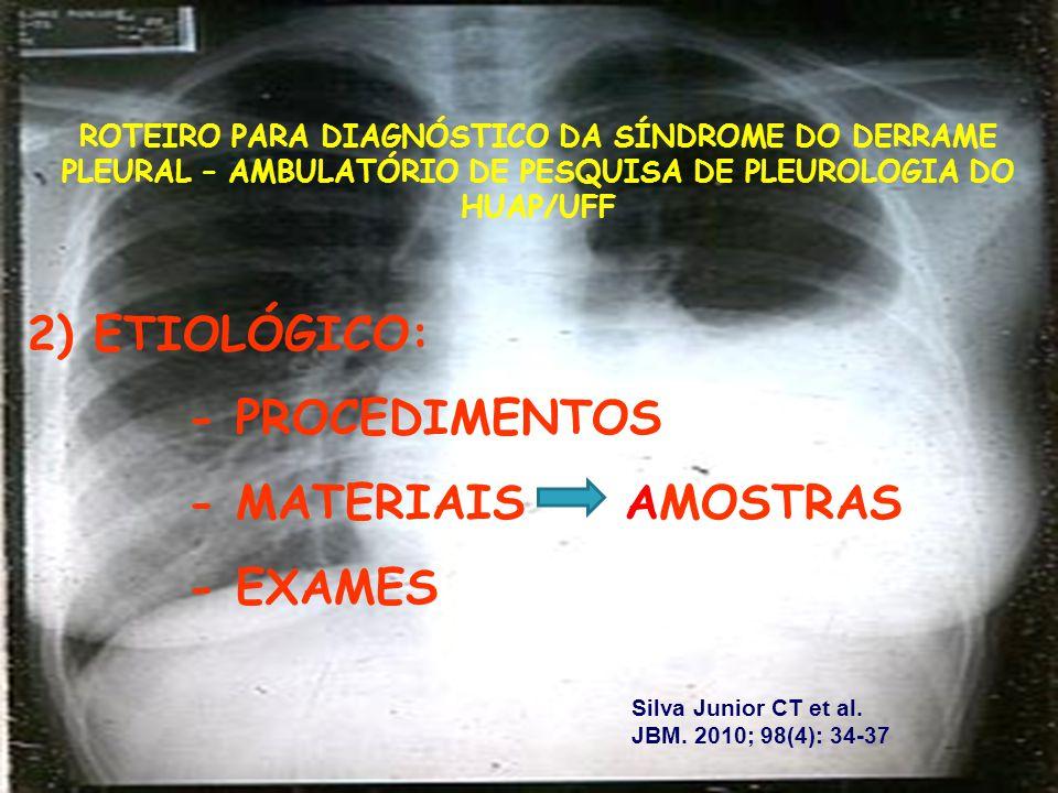 2) ETIOLÓGICO: - PROCEDIMENTOS - MATERIAIS AMOSTRAS - EXAMES