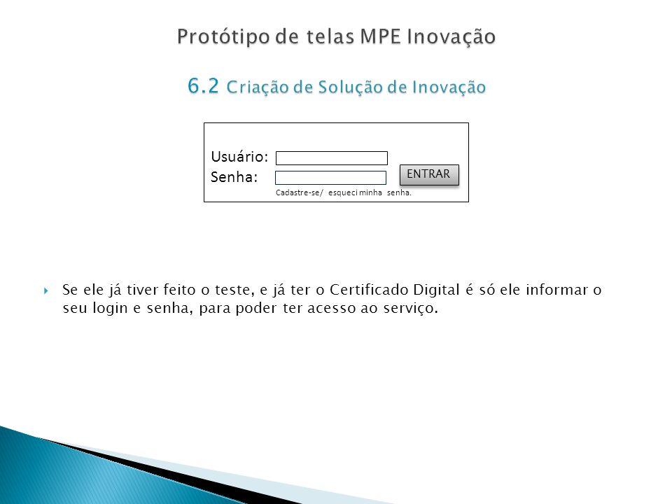 Protótipo de telas MPE Inovação 6.2 Criação de Solução de Inovação