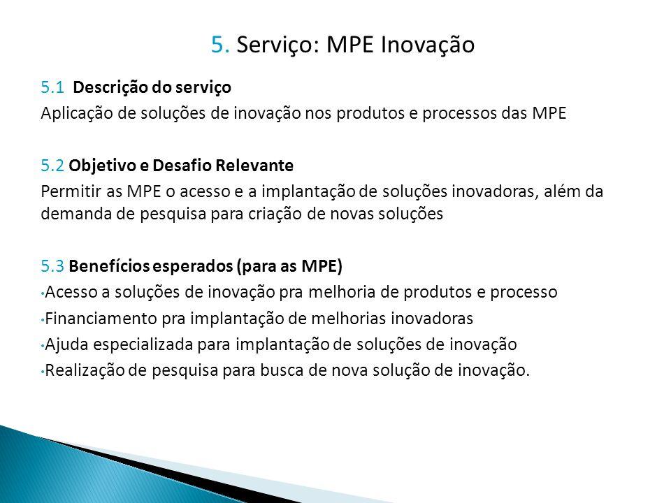 5. Serviço: MPE Inovação 5.1 Descrição do serviço