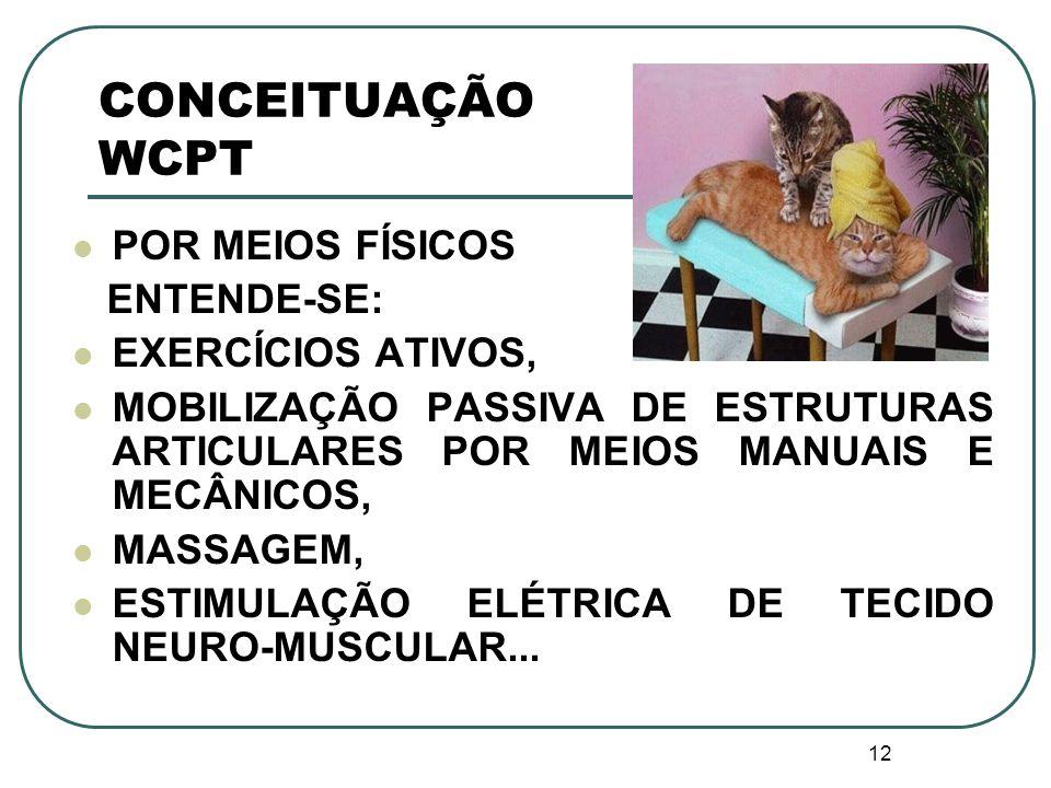 CONCEITUAÇÃO WCPT POR MEIOS FÍSICOS ENTENDE-SE: EXERCÍCIOS ATIVOS,