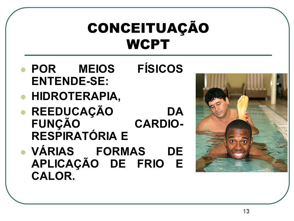 CONCEITUAÇÃO WCPT POR MEIOS FÍSICOS ENTENDE-SE: HIDROTERAPIA,