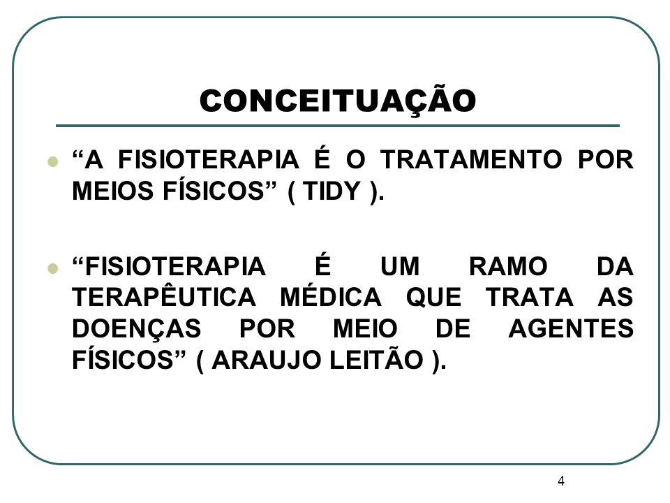 CONCEITUAÇÃO A FISIOTERAPIA É O TRATAMENTO POR MEIOS FÍSICOS ( TIDY ).