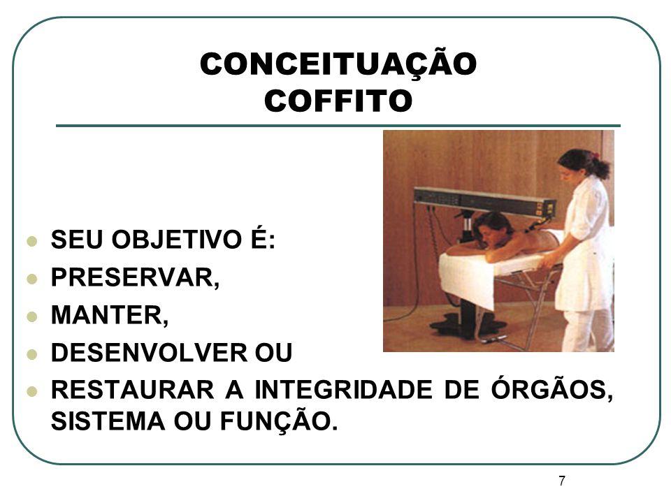 CONCEITUAÇÃO COFFITO SEU OBJETIVO É: PRESERVAR, MANTER, DESENVOLVER OU