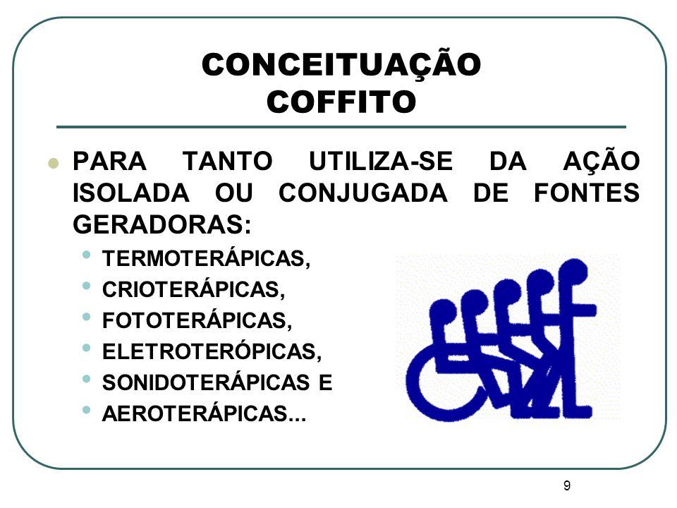 CONCEITUAÇÃO COFFITO PARA TANTO UTILIZA-SE DA AÇÃO ISOLADA OU CONJUGADA DE FONTES GERADORAS: TERMOTERÁPICAS,