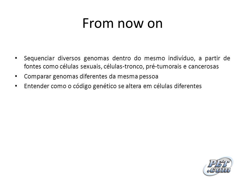 From now on Sequenciar diversos genomas dentro do mesmo indivíduo, a partir de fontes como células sexuais, células-tronco, pré-tumorais e cancerosas.