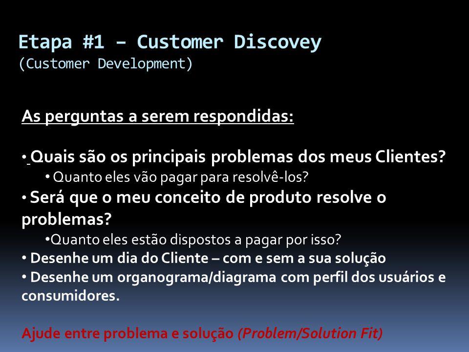 Etapa #1 – Customer Discovey (Customer Development)
