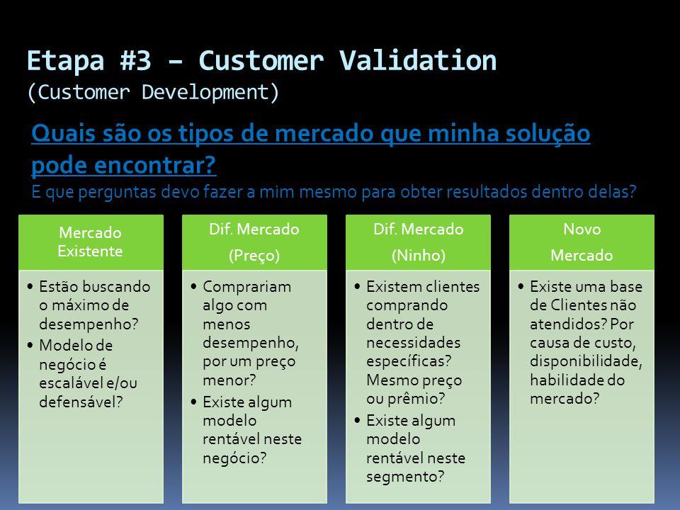 Etapa #3 – Customer Validation (Customer Development)