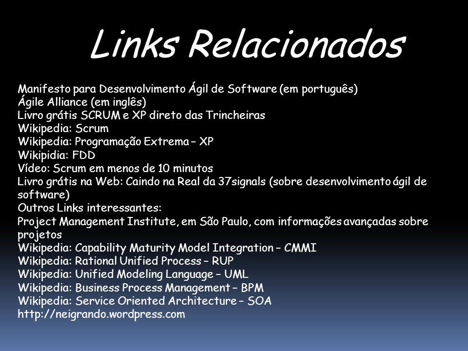 Links Relacionados Manifesto para Desenvolvimento Ágil de Software (em português) Ágile Alliance (em inglês)