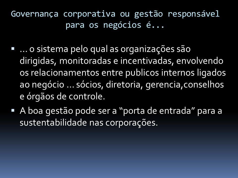 Governança corporativa ou gestão responsável para os negócios é...