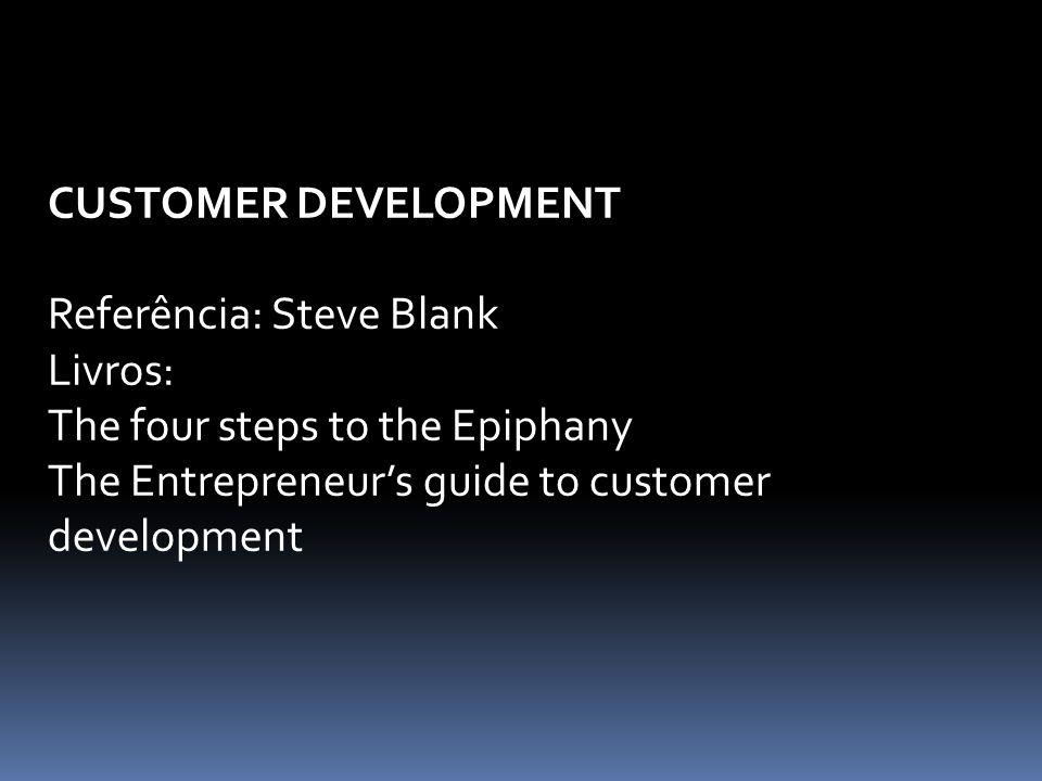 CUSTOMER DEVELOPMENT Referência: Steve Blank. Livros: The four steps to the Epiphany.