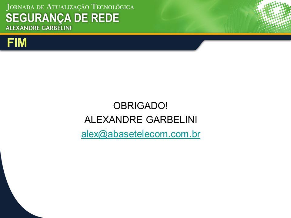 FIM OBRIGADO! ALEXANDRE GARBELINI alex@abasetelecom.com.br