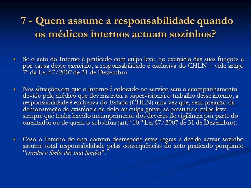 7 - Quem assume a responsabilidade quando os médicos internos actuam sozinhos