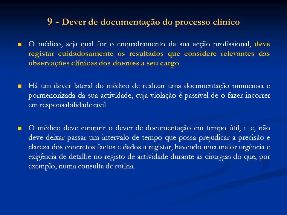 9 - Dever de documentação do processo clínico