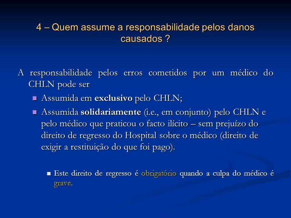 4 – Quem assume a responsabilidade pelos danos causados