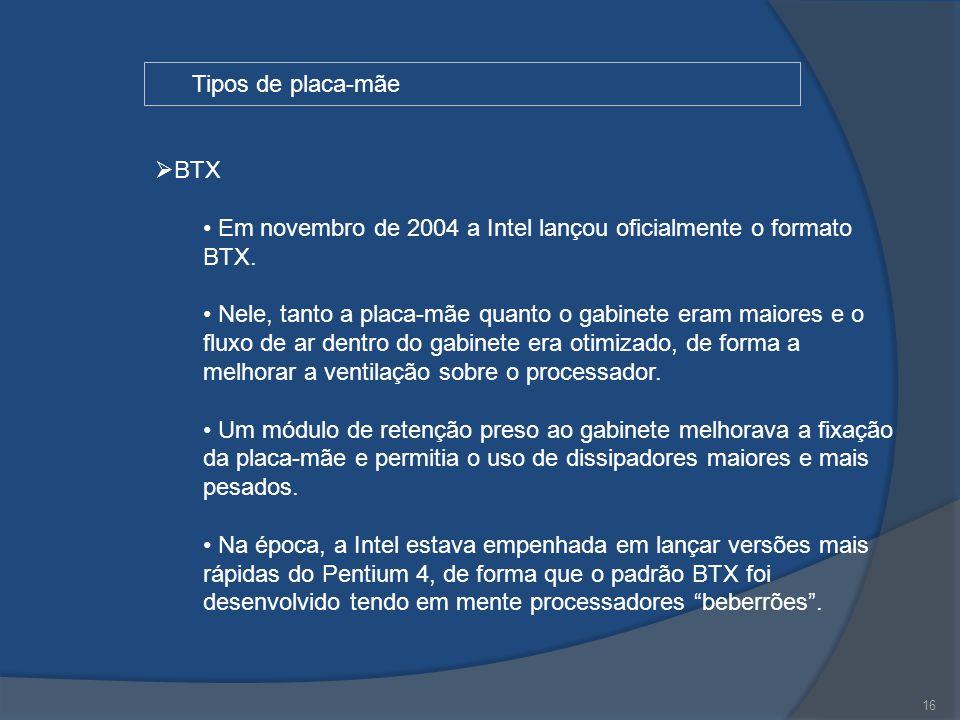 Em novembro de 2004 a Intel lançou oficialmente o formato BTX.