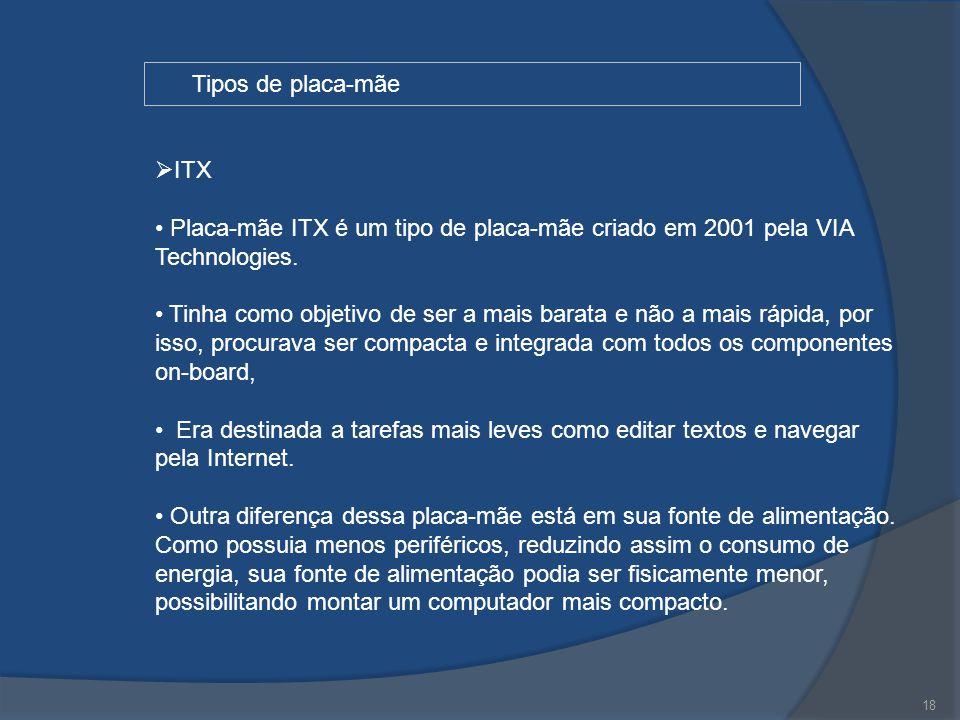 Tipos de placa-mãe ITX. Placa-mãe ITX é um tipo de placa-mãe criado em 2001 pela VIA Technologies.