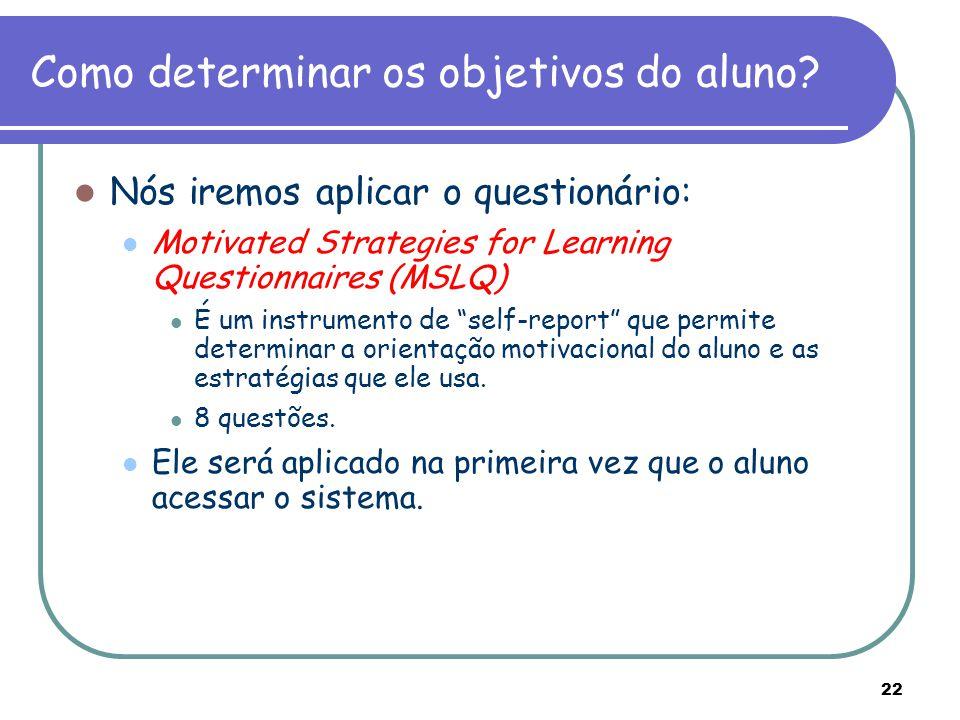 Como determinar os objetivos do aluno