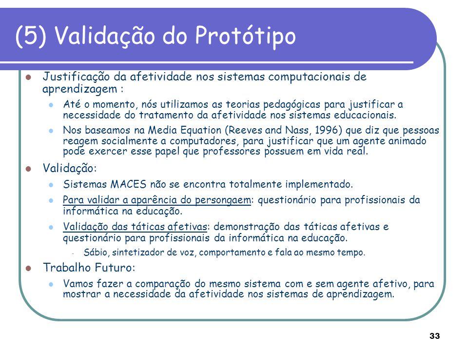 (5) Validação do Protótipo
