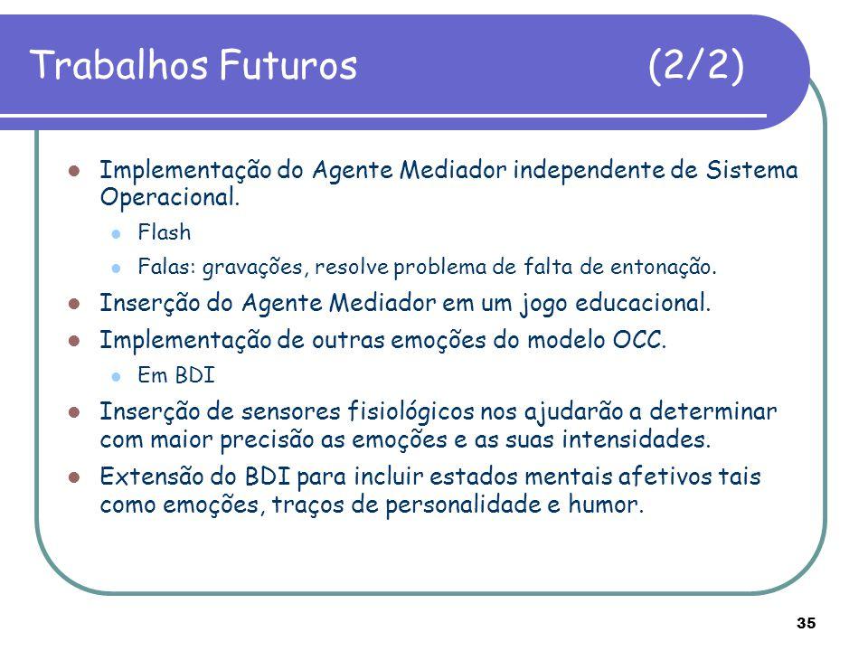 Trabalhos Futuros (2/2) Implementação do Agente Mediador independente de Sistema Operacional.