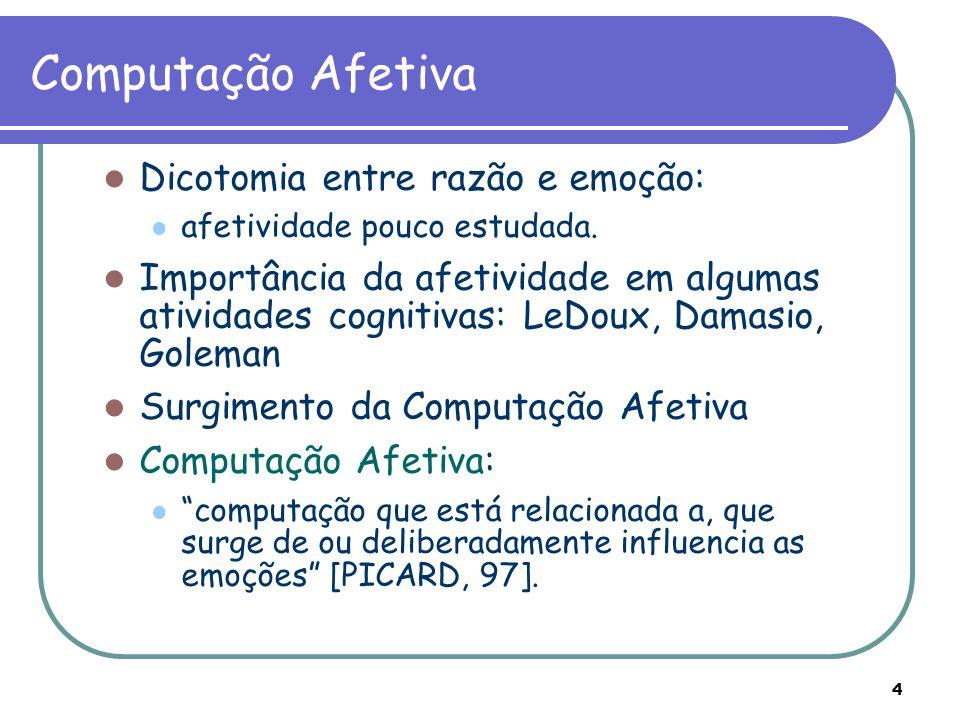 Computação Afetiva Dicotomia entre razão e emoção: