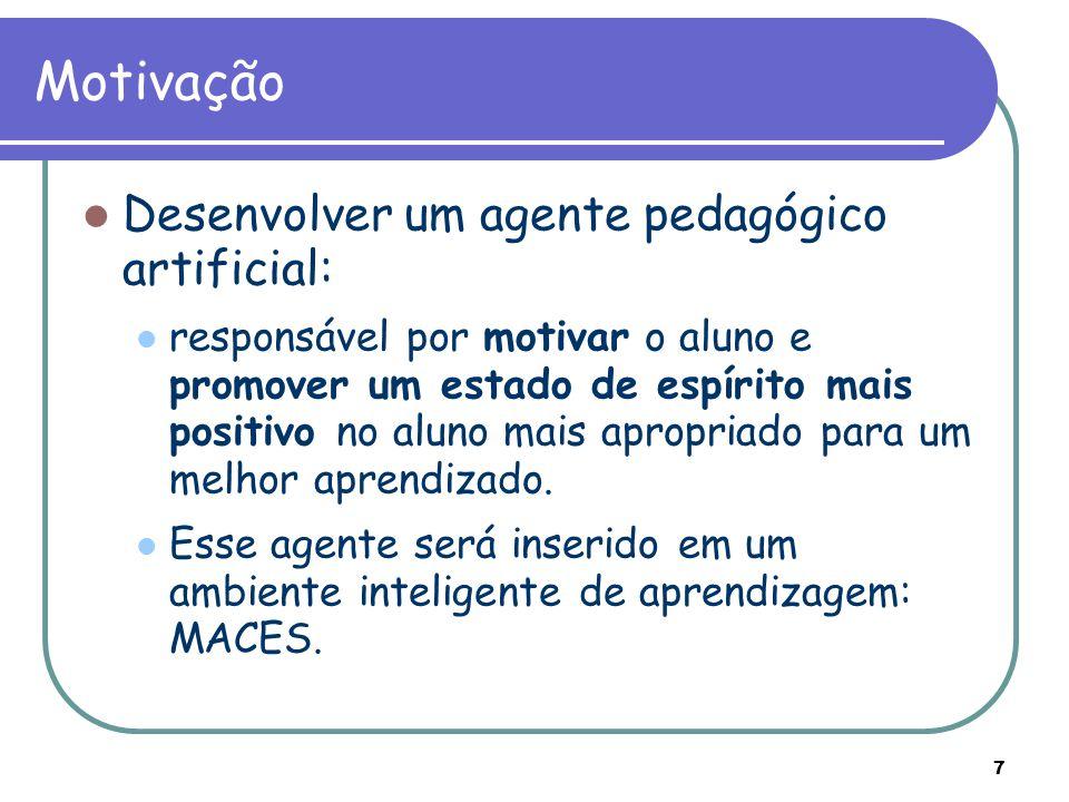 Motivação Desenvolver um agente pedagógico artificial: