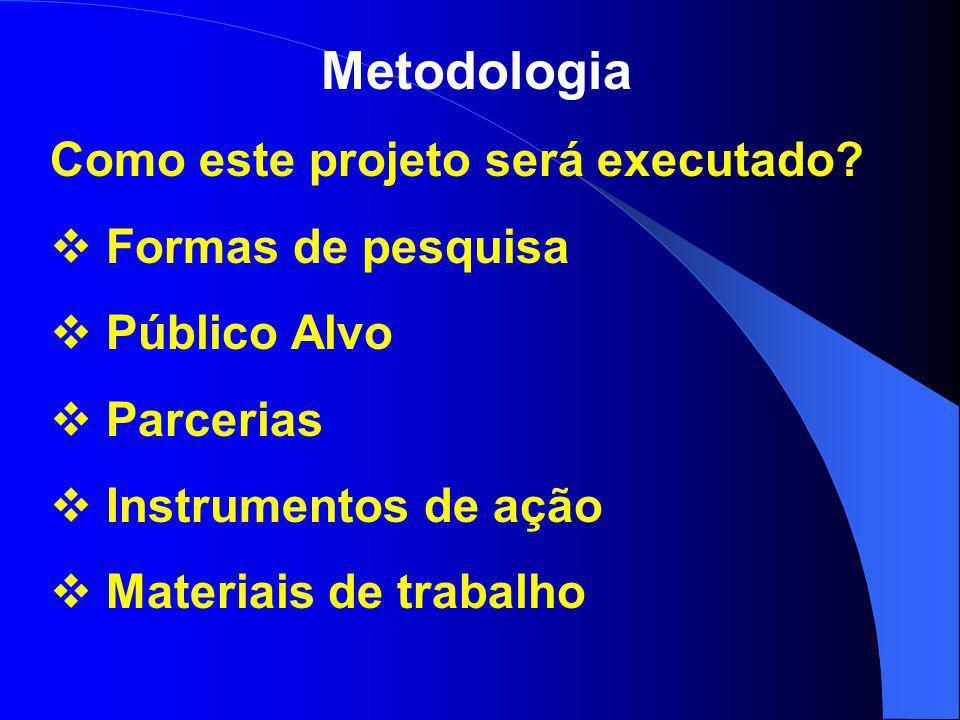 Metodologia Como este projeto será executado Formas de pesquisa