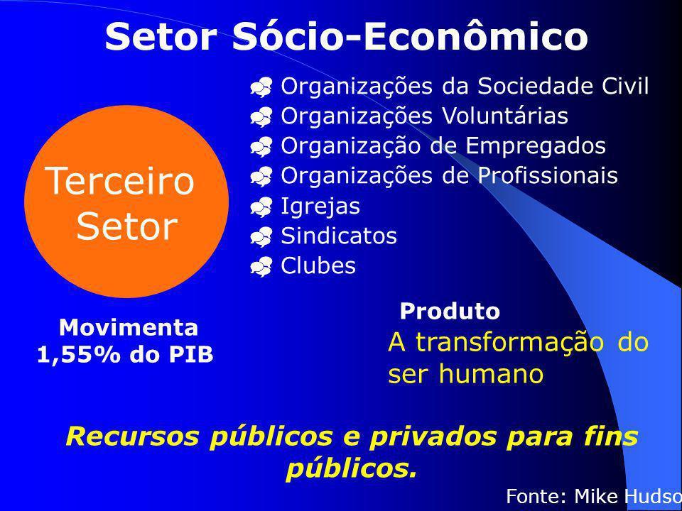 Setor Sócio-Econômico Recursos públicos e privados para fins públicos.
