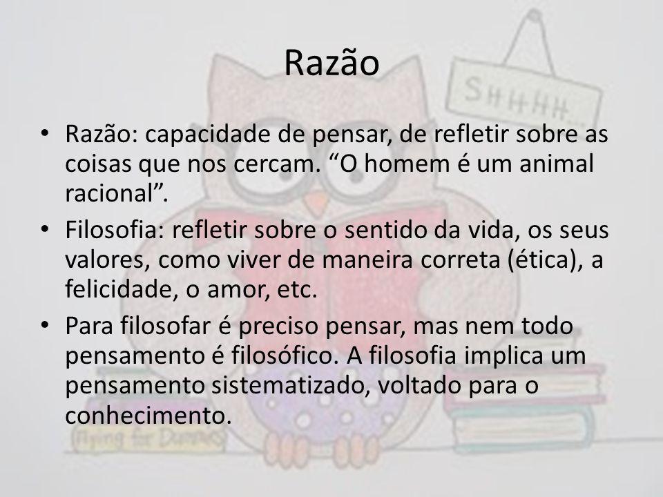 Razão Razão: capacidade de pensar, de refletir sobre as coisas que nos cercam. O homem é um animal racional .