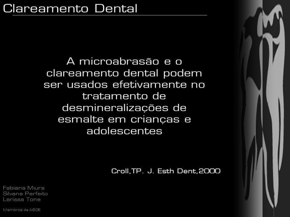 A microabrasão e o clareamento dental podem ser usados efetivamente no tratamento de desmineralizações de esmalte em crianças e adolescentes
