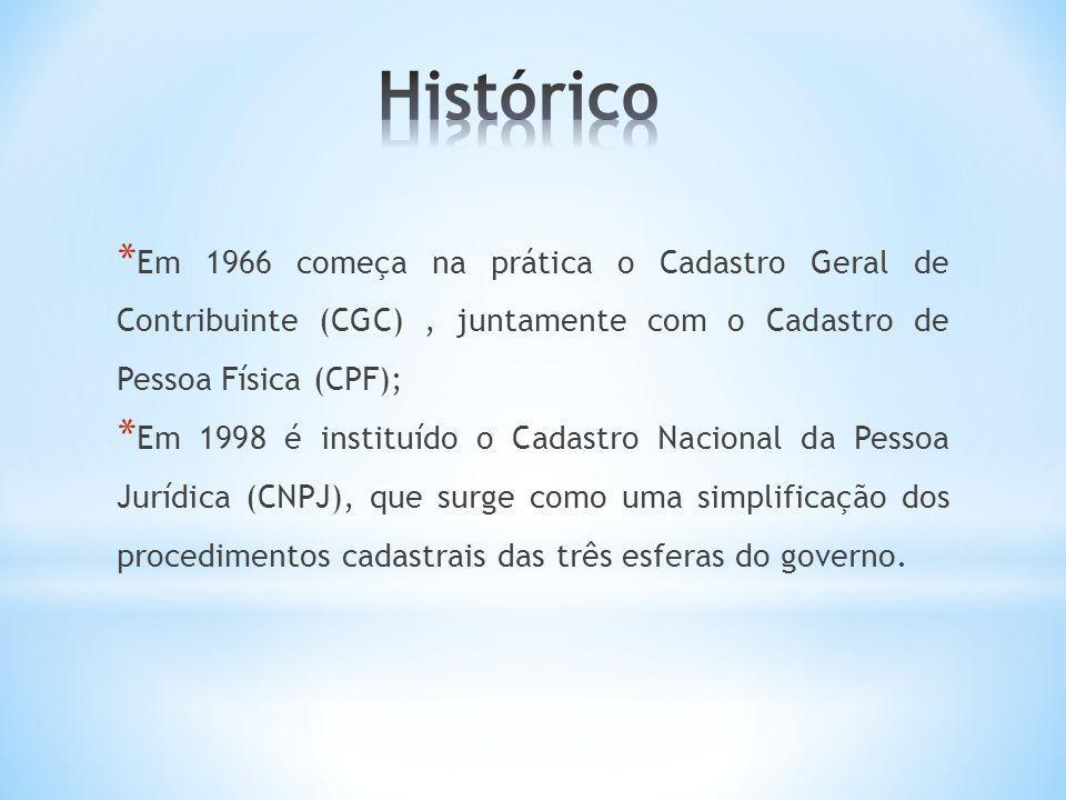 Histórico Em 1966 começa na prática o Cadastro Geral de Contribuinte (CGC) , juntamente com o Cadastro de Pessoa Física (CPF);