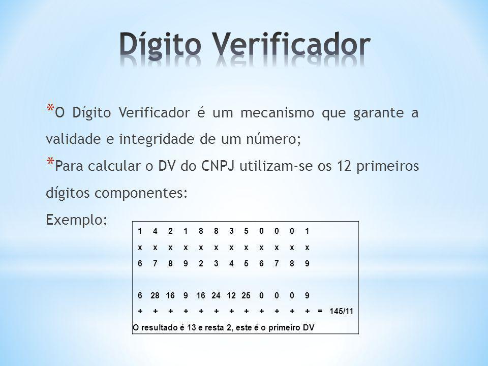 O resultado é 13 e resta 2, este é o primeiro DV